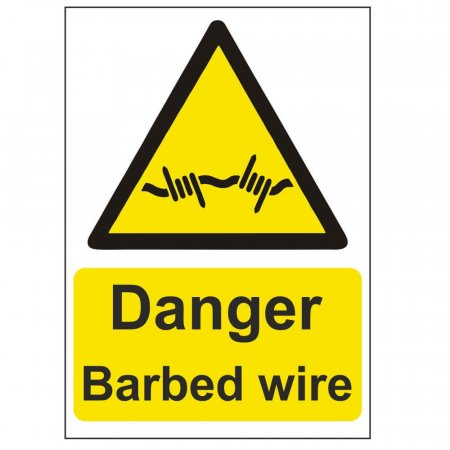 Danger Barbed Wire Warning Sign
