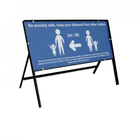 Be Socially Safe Temporary Sign – Blue - Large