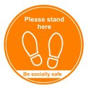 Please Stand Here Floor Distance Markers - Be Socially Safe - Amber